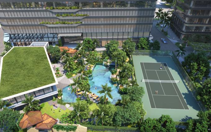 Mảng xanh dày đặc và thiết kế sống động nội khu căn hộ. Ảnh phối cảnh: Masterise Homes.